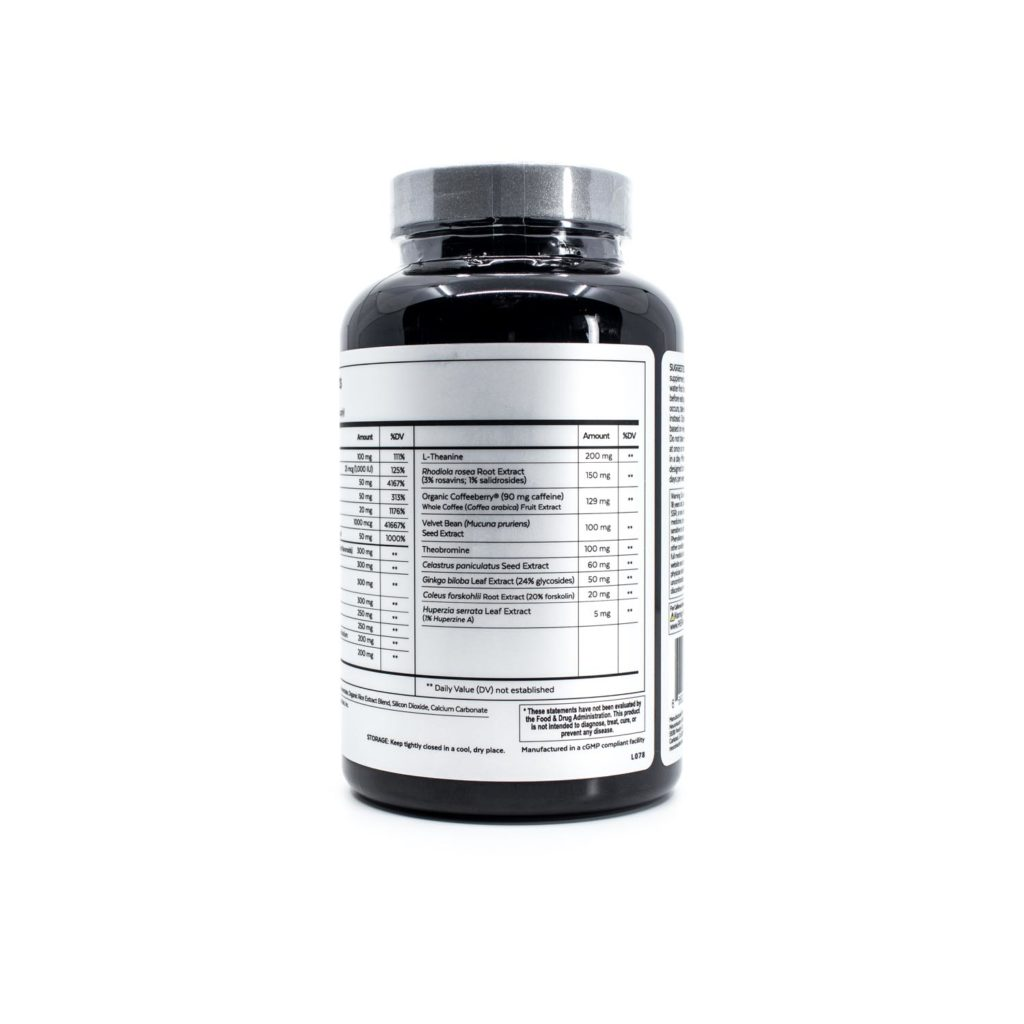 A bottle of Qualia Mind Essentials showing supplement facts