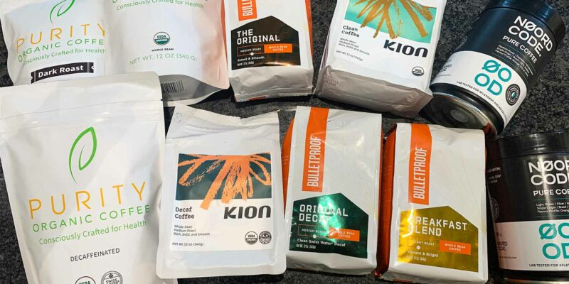 Packs of Coffee from Purity, Kion, Bulletproof and NoordCode