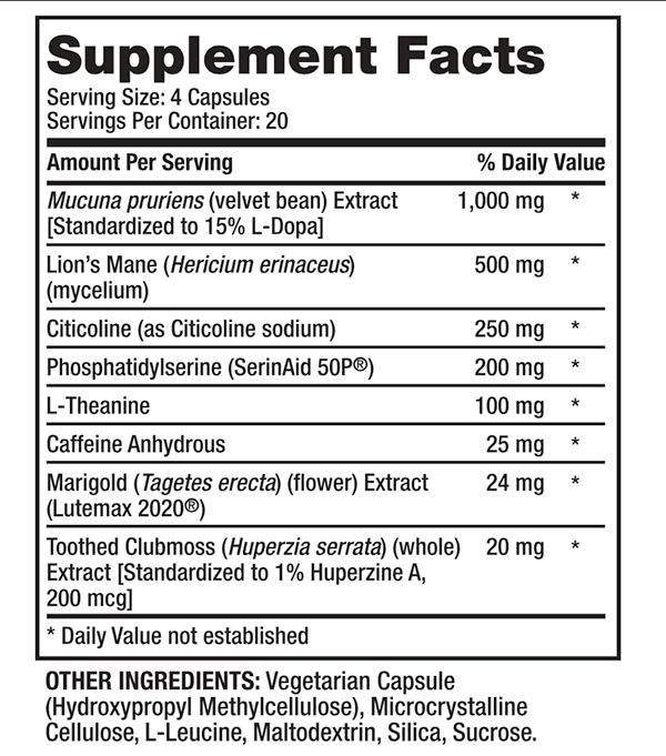 Supplement Facts of Alpha Brain Black Label